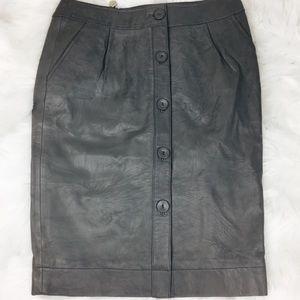 Joe's irina gray leather button down pencil skirt